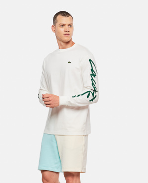 Unisex cotton T-shirt with Lacoste LIVE logo printed