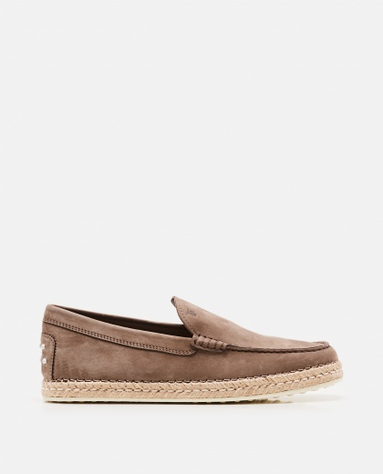Taupe brown suede  midsole moccasins