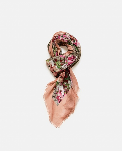 Silk And Modal Shawl With Gg Blooms Print