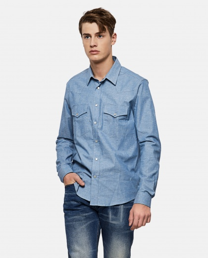 Snap-Buttoned Chambray Shirt