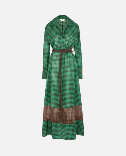 Vichy silk dress