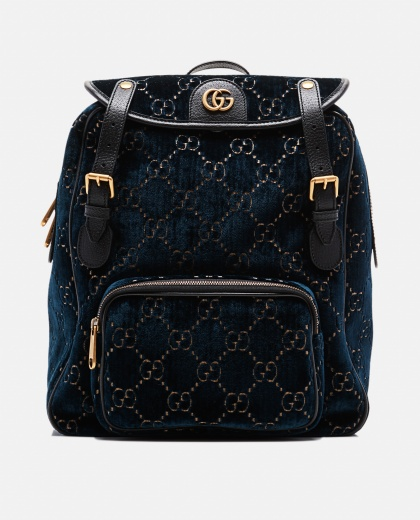 Blue Velvet Small GG velvet backpack