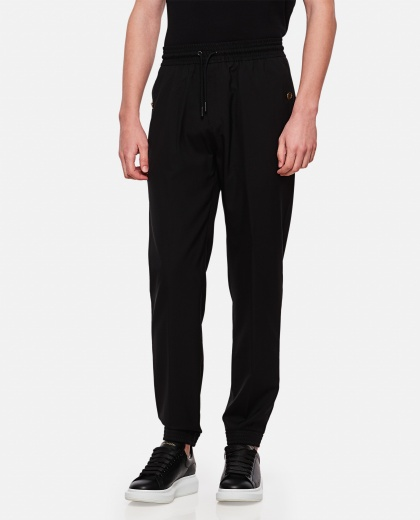 Black super 120s wool and mohair jogging trousers,