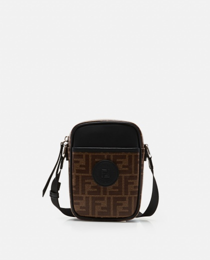 Cross-body in brown fabric