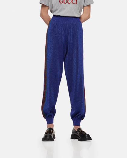 Jogging trousers in wool with lamé