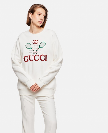 Oversized Sweatshirt With Gucci Tennis Embroidery