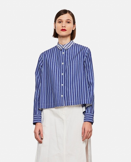 Striped shirt with pleats