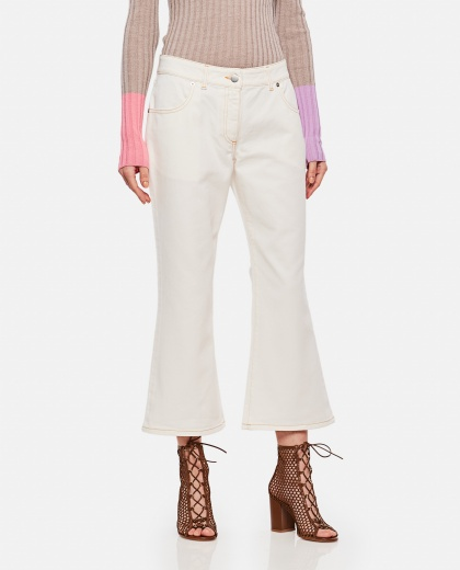 Off-white cotton skinny flared jeans