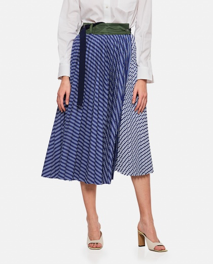 Blue pleated cotton skirt