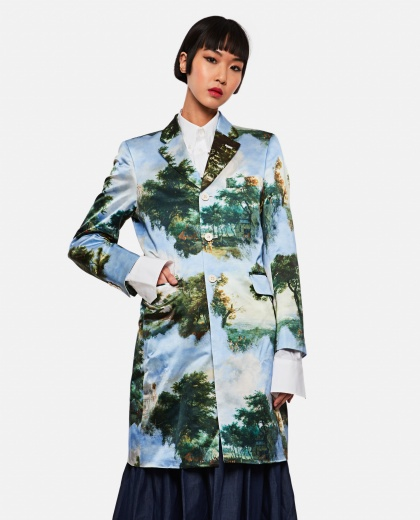 Single-breasted coat with graphic print