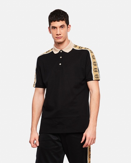 Black polo shirt with GG ribbon