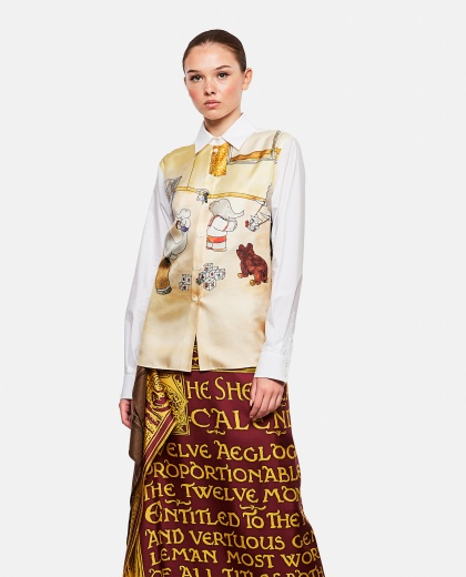 Shirt in silk and cotton fabric