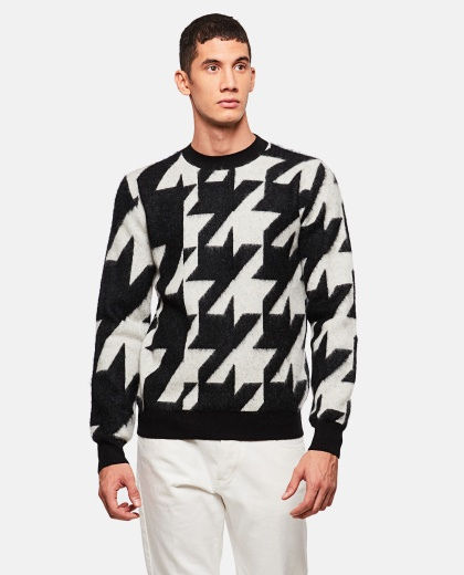 Sweater with pied-de-poule pattern