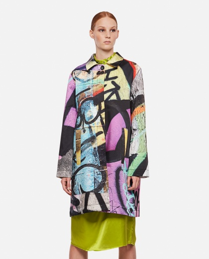 Coat with graffiti print