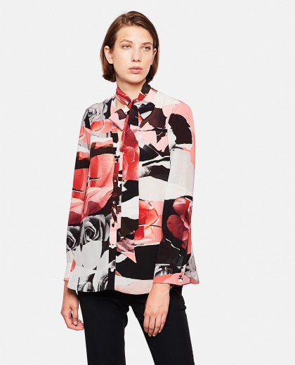 Multicolor Shirt With All-Over Torn Rose Print And Neck Bow