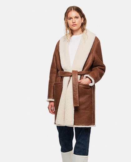 Shearling coat with belt