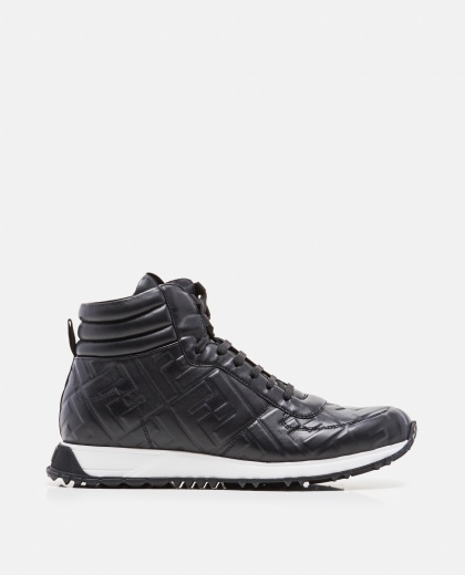 Black embossed FF high-top sneakers