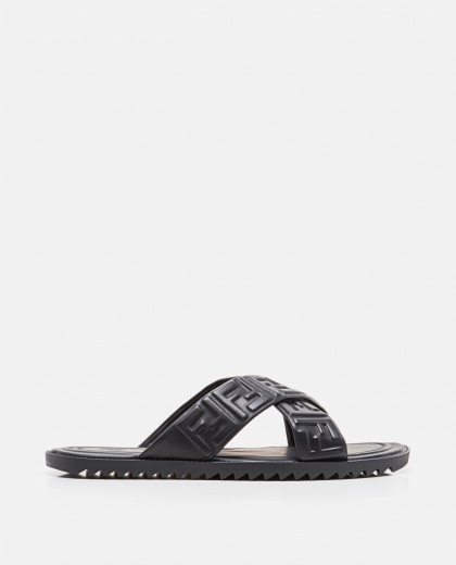 Black embossed lambskin FF sandals