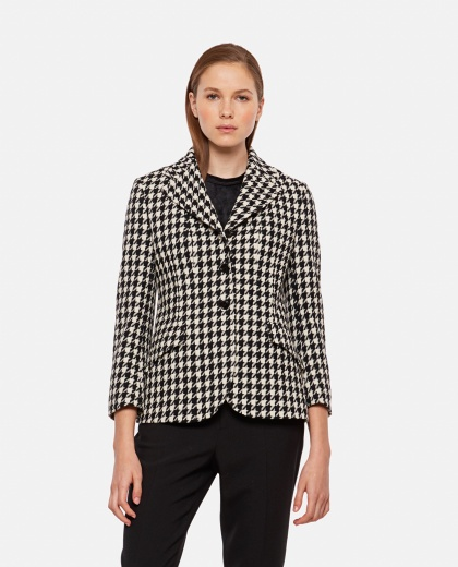 Houndstooth tight-fitting jacket
