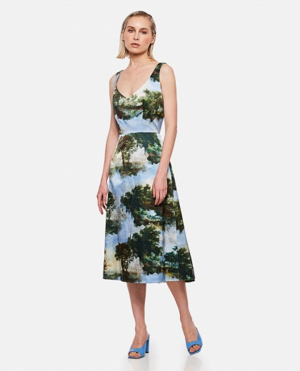 Midi dress with flared design print