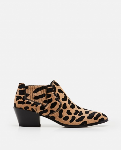 Ankle-print leather ankle boot