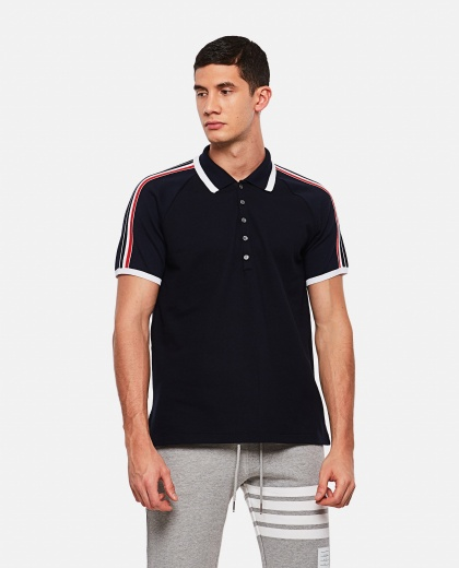 Polo shirt with striped sleeves