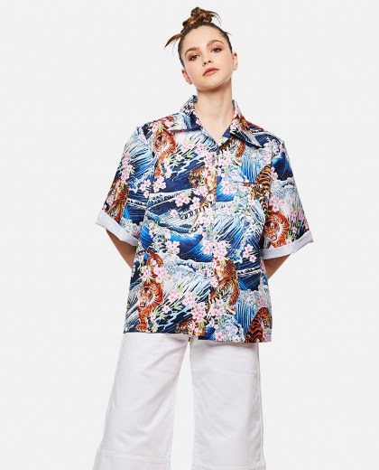 Shirt With Wave Print And Tiger