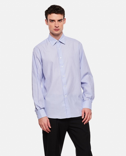 Cotton shirt with checkered print