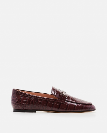 Double T leather loafers with logo