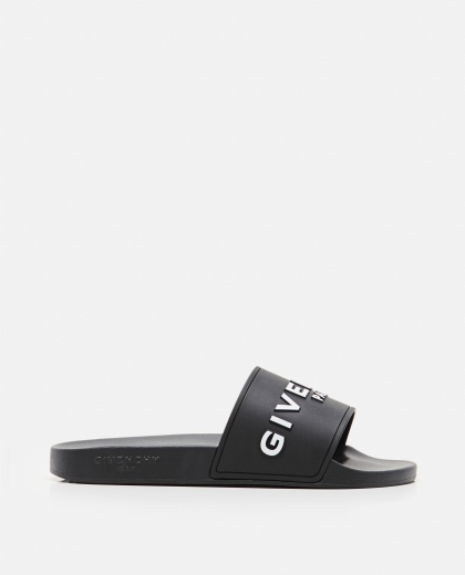 Flat black rubber sandals