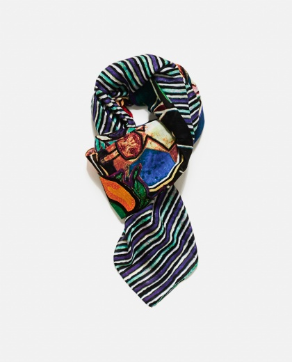 Multicolour light wool scarf
