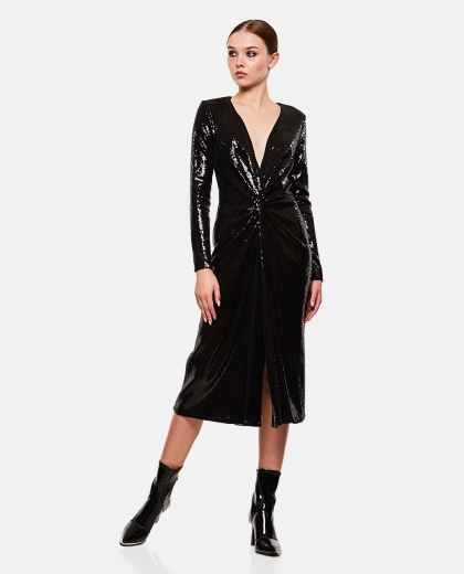 Midi dress with sequin embroidery