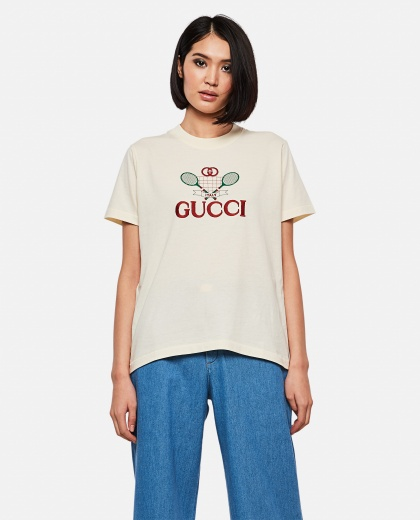 T-shirt with Gucci Tennis embroidery