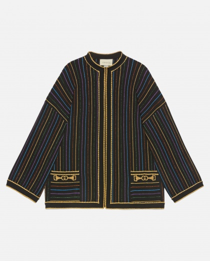 Multicolour lamé striped wool jacket