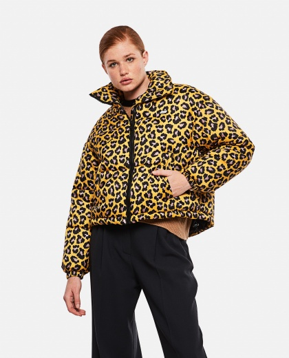 Short Down Jacket With Leopard Print