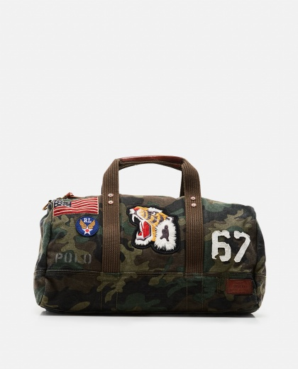 Camouflage patchwork canvas bag