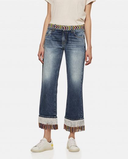 Fringed Denim Pants