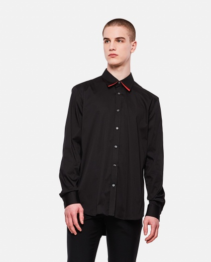 Cotton blend shirt with double collar