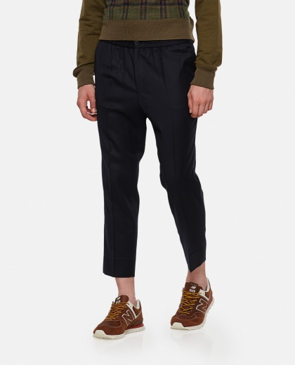 Cropped elasticated waist trousers
