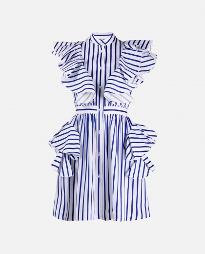 Striped dress with Rouches