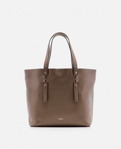 Smooth leather shopper