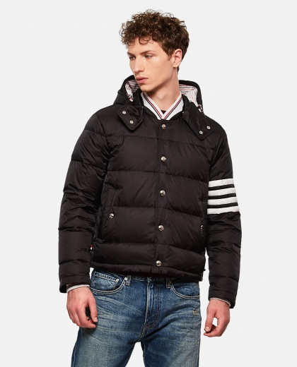 Padded Bomber Jacket With 4-Bar Detail