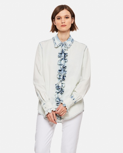 Curled denim shirt with discolored effect