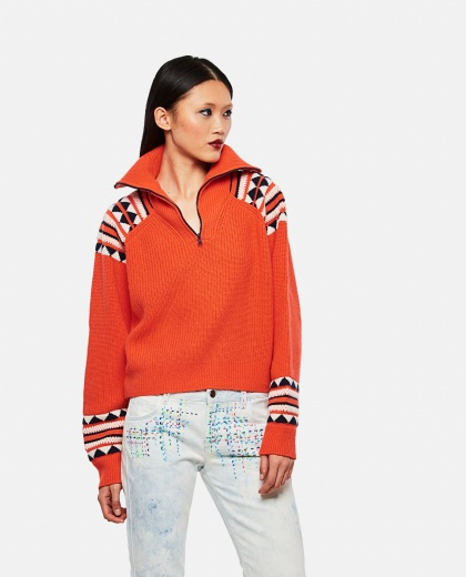 Orange half zip sweater