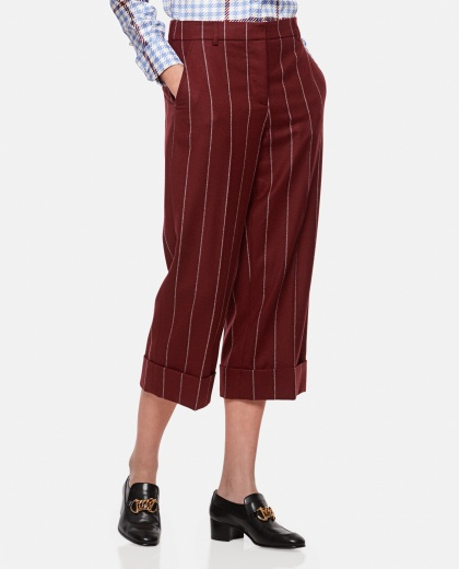 Pinstripe wool flannel trousers