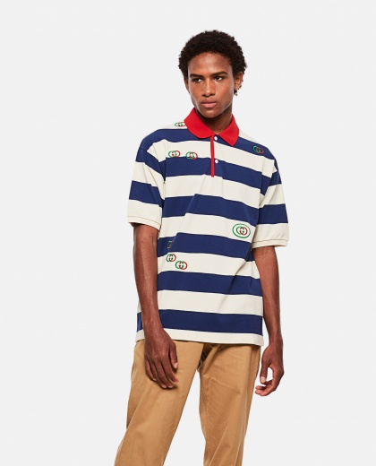 Embroidered striped Jersey polo shirt