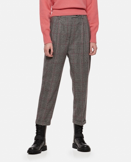 Plaid trousers with high waist