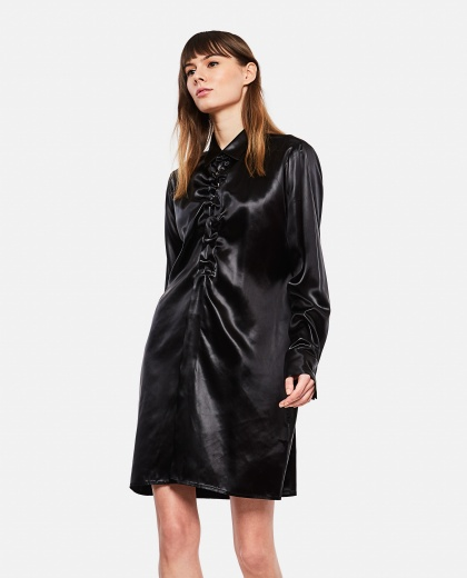 Long shirt with gathered neckline