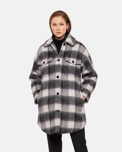 Checked coat with check print