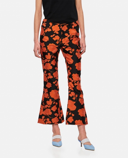 Flared trousers with flowers